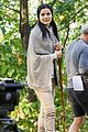 jaimie alexander crawls around the woods while filming for blindspot 23