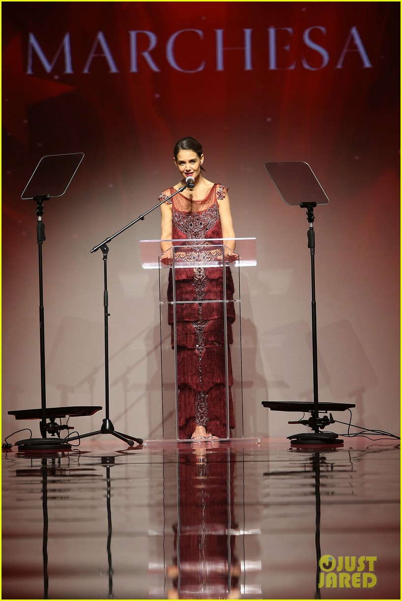 katie holmes models marchesa in red dress show for nyfw 063856469