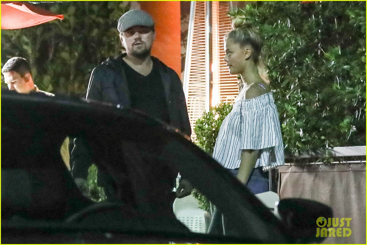 leonardo dicaprio nina agdal cuddle up after dinner 013872007