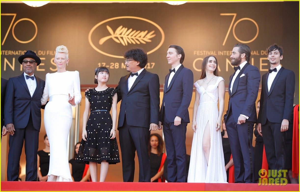 jake gyllenhaal tilda swinton lily collins switch it up for okja cannes premiere 043901558