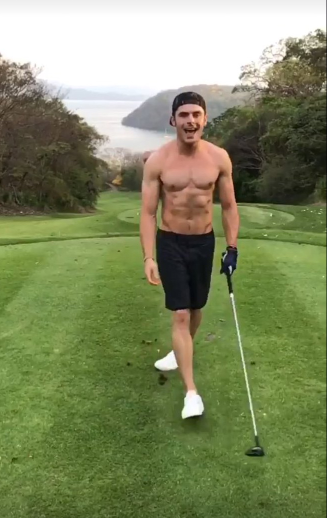 zac efron plays golf shirtless on vacation023895849