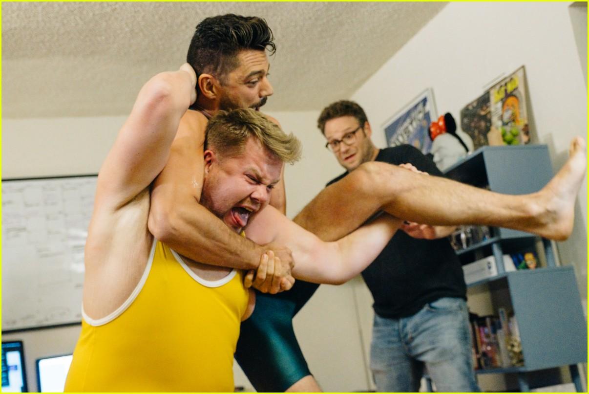 dominic cooper wrestles james corden over mystery pizza 023918725