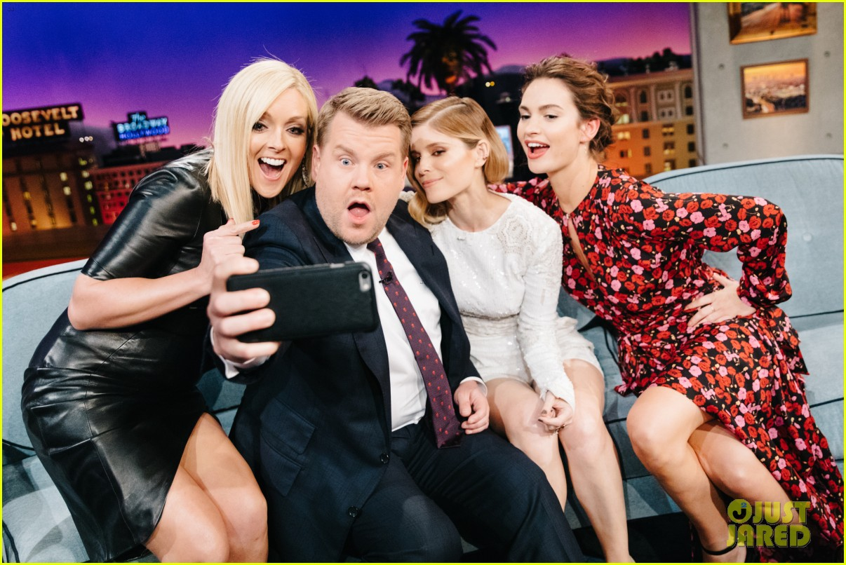 james corden fires fruit at lily james iggy azalea kate mara with flinch 013914315