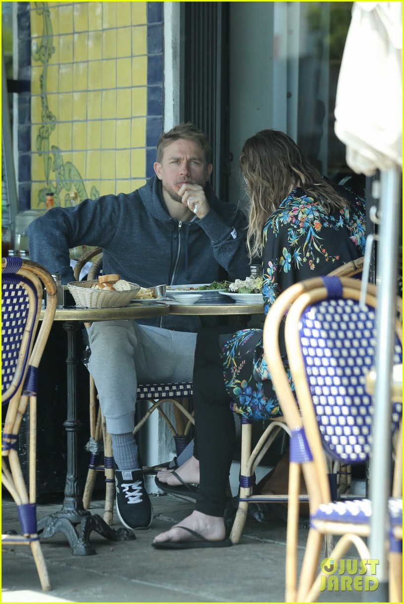 charlie hunnam is all smiles with morgana mcnelis at lunch