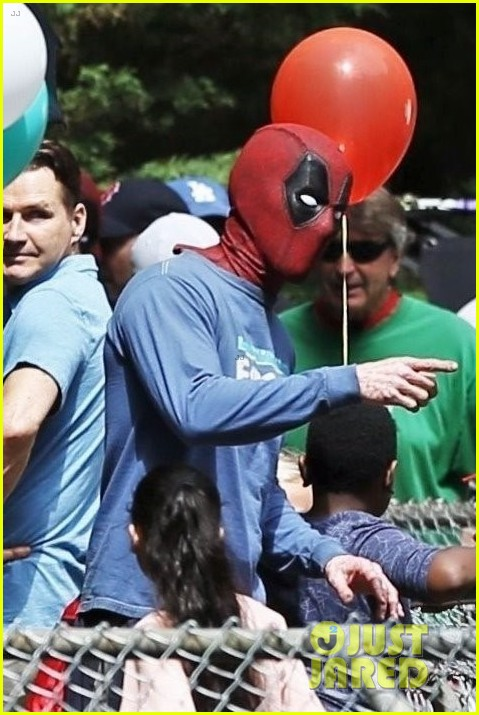 ryan reynolds deadpool flies into a kids birthday party 013920305