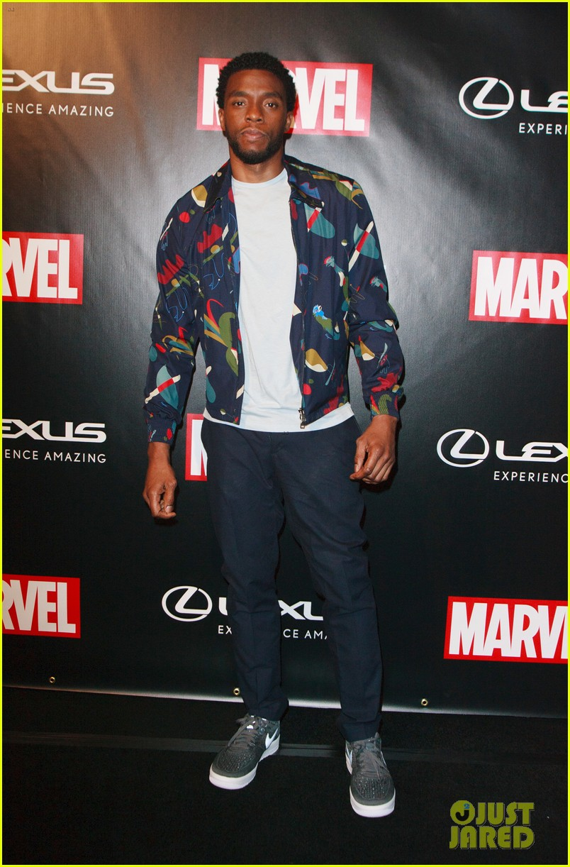 chadwick boseman reunites with black panther lexus at comic con 053931963