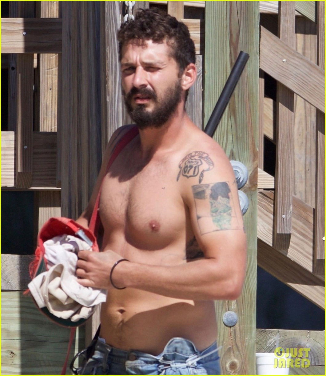 shia labeouf returns to peanut butter falcon set shirtless after arrest in georgia 043936037