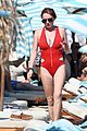 lindsay lohan sports red one piece in greece 04
