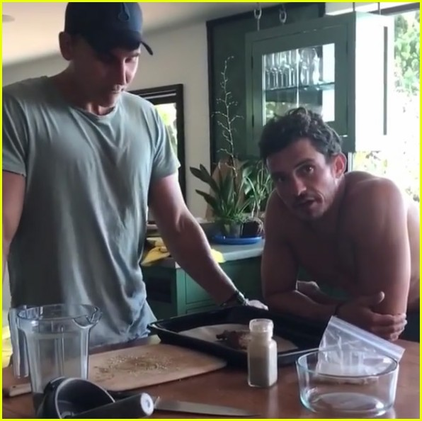 orlando bloom posts shirtless workout videos inspired by the rock 07