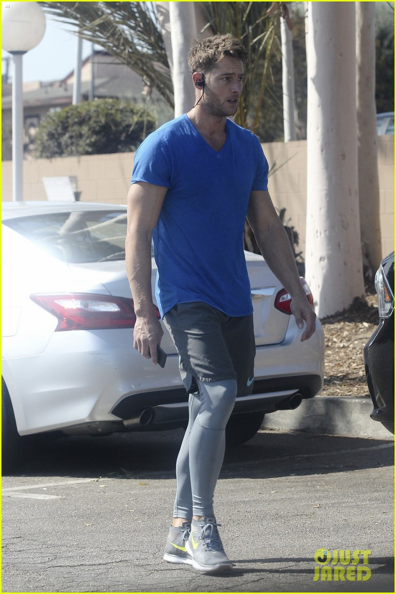justin hartley shows off his buff biceps at the gym 013966621