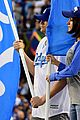 mila kunis ashton kutcher wave dodgers flag 11