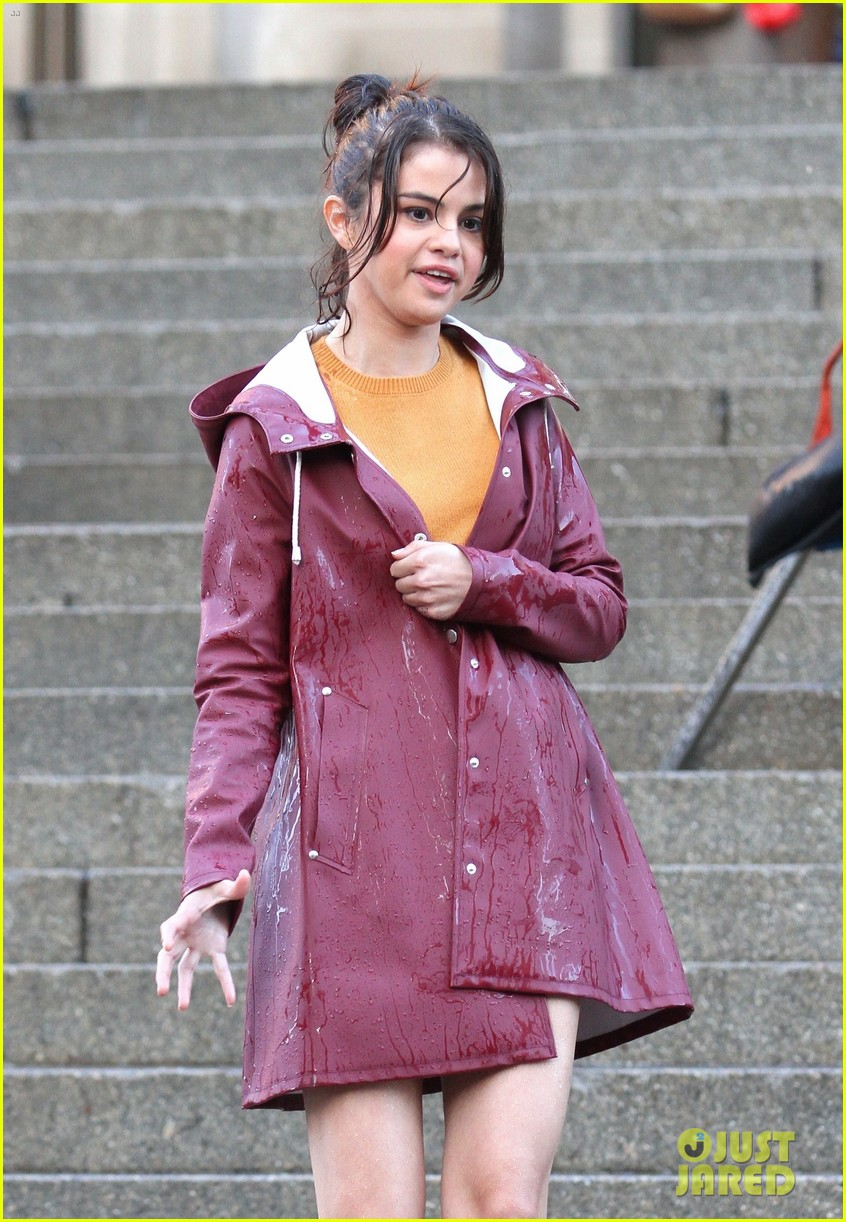 Selena Gomez Gets Soaked While Filming A Rainy Scene