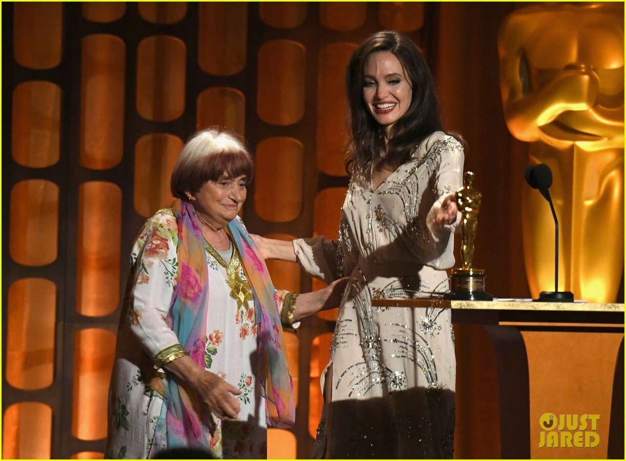 angelina jolie speaks on stage while presenting at governors awards 053985972