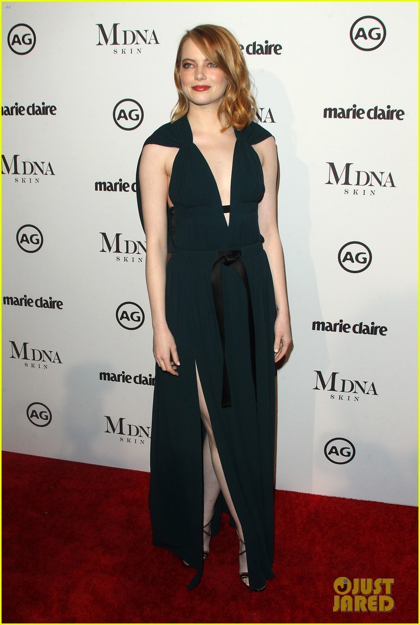 emma stone goes glam in green for marie claire image makers awards 014013472