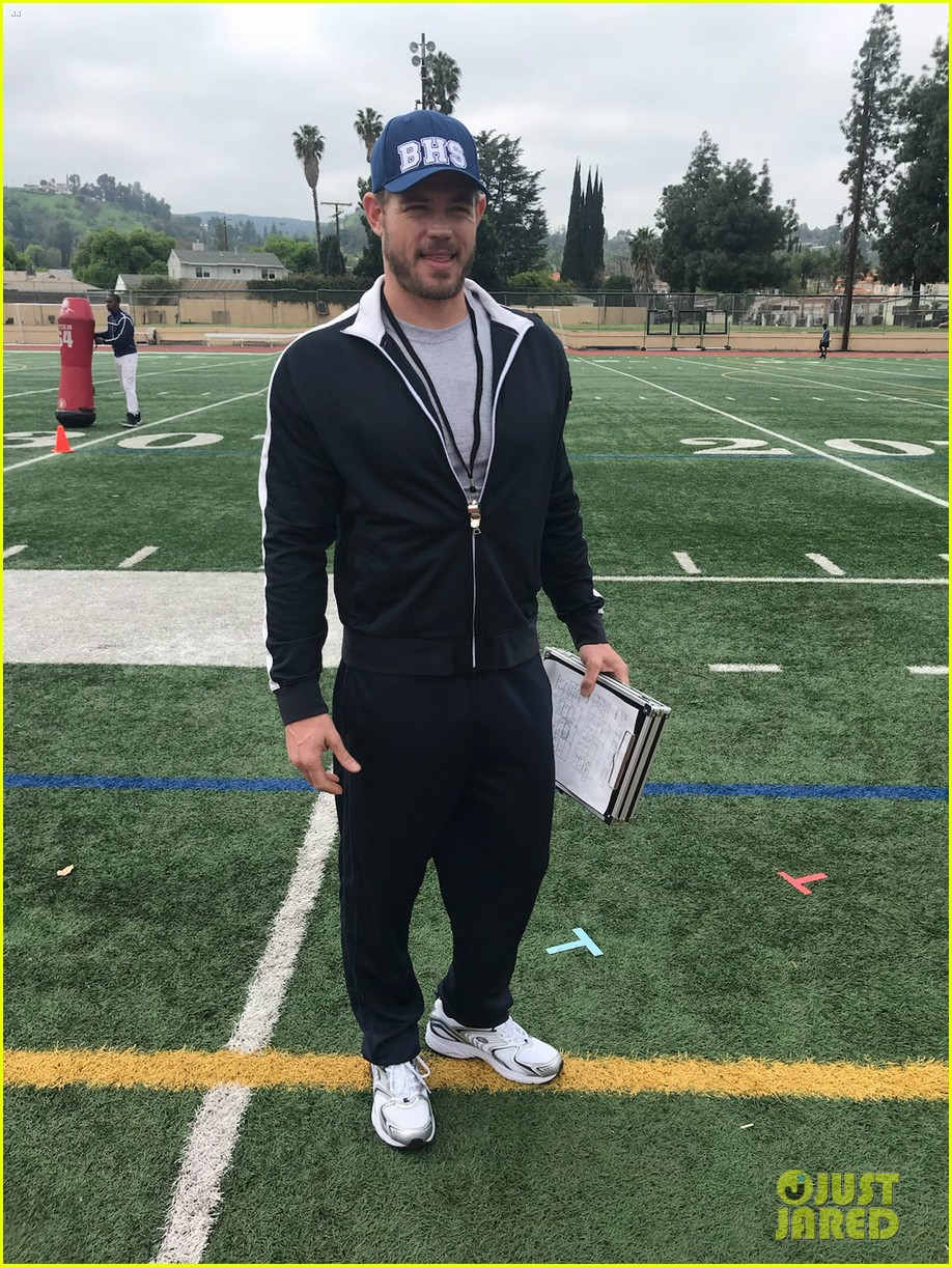 trevor donovan dons high school football coach uniform in first on set photo from the baxters 01