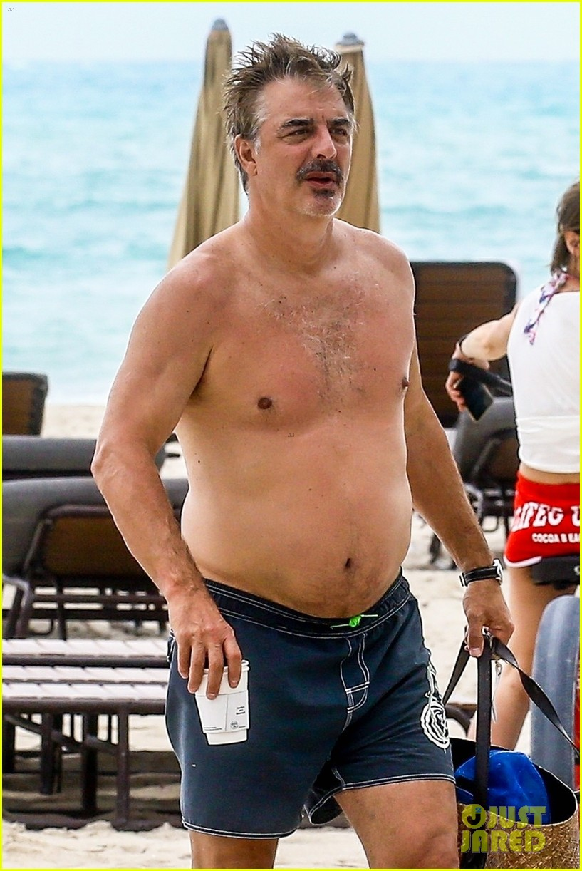 chris noth goes shirtless on the beach during miami vacation 09