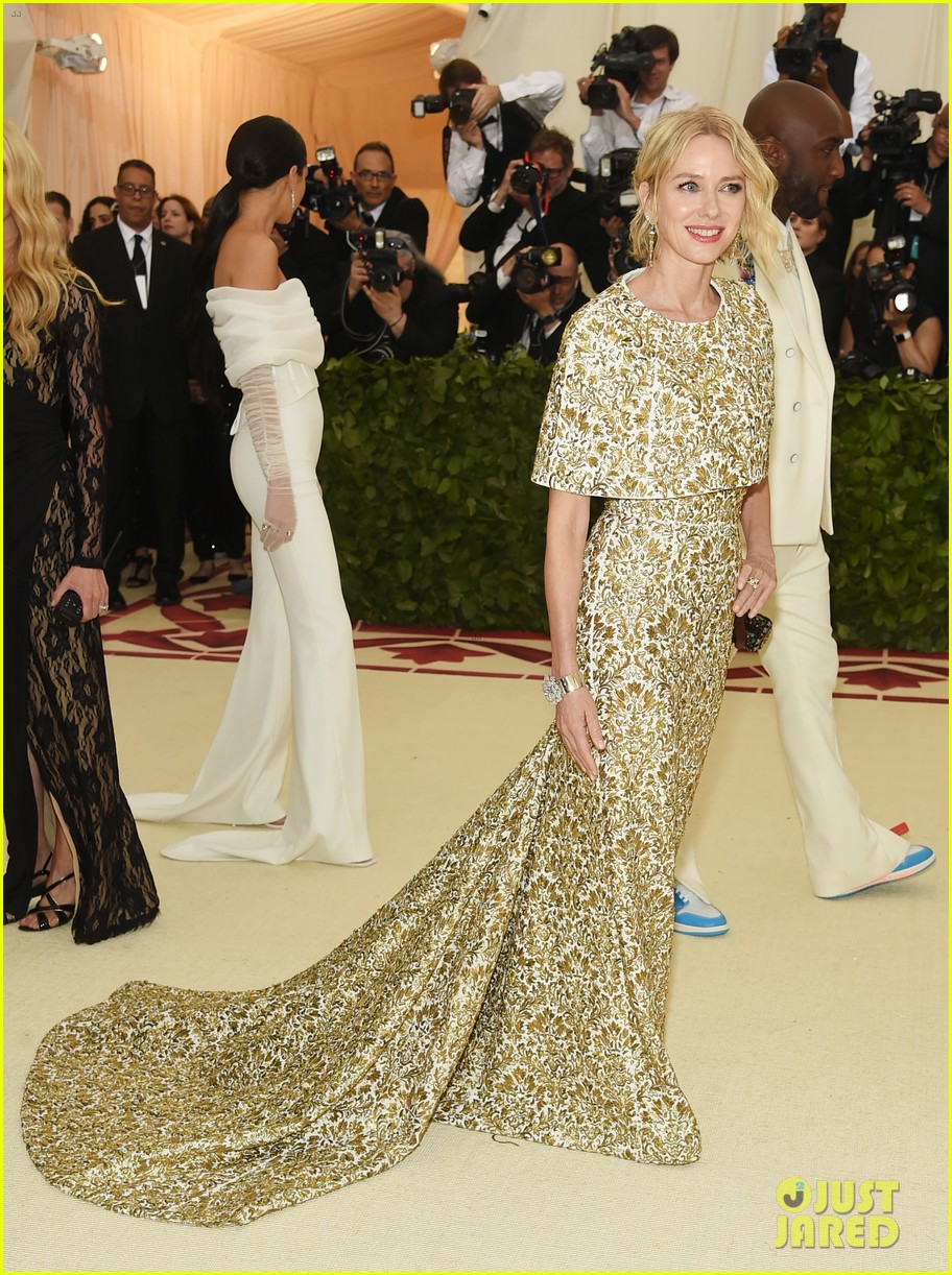 naomi watts looks regal in ornate gold dress at met gala 2018 07