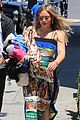hilary duff dresses her baby bump in colorful dress 03