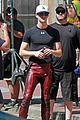 grant gustin suits up on the flash set in vancouver 04