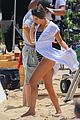 lea michele does yoga while filming her christmas movie 05