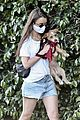 lily collins mom jill dog walk together 02