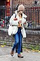 emilia clarke bundles up during a chilly fall day 13