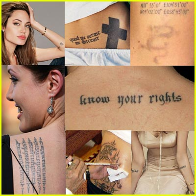 Angelina Jolie Real Tattoos