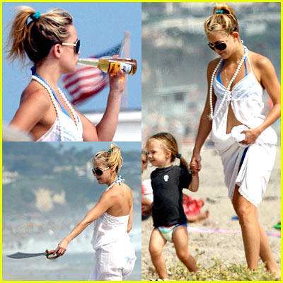 Kate Hudson Drinking Beer with Baby