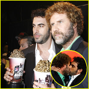 Sacha Baron Cohen Plants a Kiss on Will Ferrell
