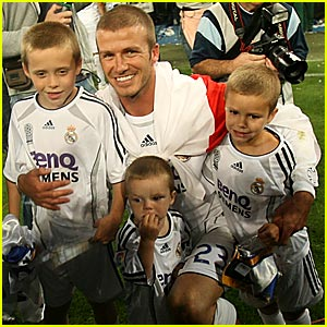 The Beckham Boys Cheer Daddy On