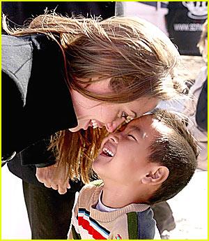 Angelina & Maddox Rub Noses