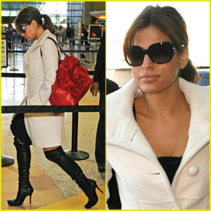 Eva Mendes Walks the Runway at LAX