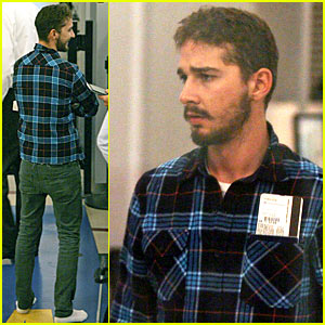 Shia LaBeouf Takes Plaid Precautions