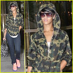 Rihanna Dons Camouflage Hoodie