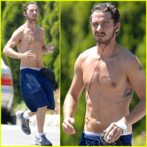 Shia LaBeouf Goes Shirtless Running