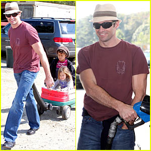 Hugh Jackman Hits Pumpkin Patch