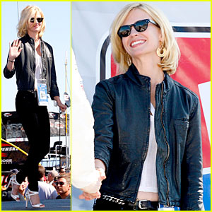 January Jones Revs Up for Nascar