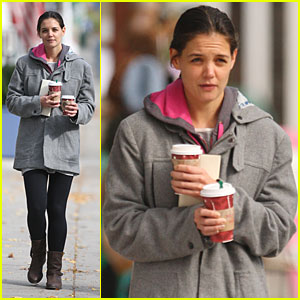 Katie Holmes: Coffee Run on The Romantics Set