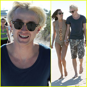 Tom Felton: Romantic Beach Stroll with Girlfriend!