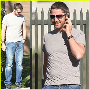 Gerard Butler Takes Lolita For A Walk