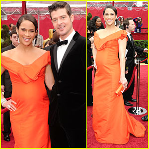 Paula Patton & Robin Thicke -- Oscars 2010 Red Carpet