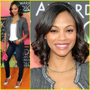 Zoe Saldana -- 2010 Kids' Choice Awards Orange Carpet