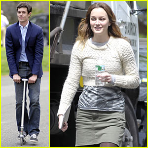 Adam Brody Scooters to Set with Leighton Meester