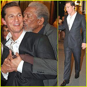 Morgan Freeman Smooches Matthew McConaughey