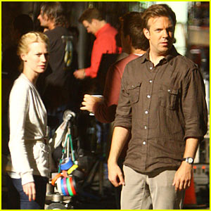 January Jones Visits Jason Sudeikis on 'Horrible Bosses' Set -- Again!