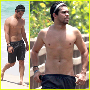 Shirtless Wilmer Valderrama Hits The Beach