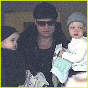 Brad Pitt Lands in Budapest with Knox & Vivienne