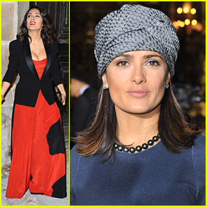 Salma Hayek Has Fun At Fashion Week