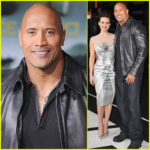Dwayne Johnson and Carla Gugino pose together at the Faster Los