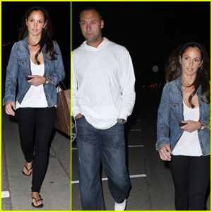 Minka Kelly & Derek Jeter Leave Louis Luitton